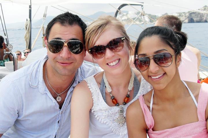 Nik, Laura and Ramya, boat party in Ibiza!
