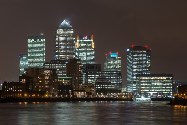 view of Canary Wharf from Isle of Dogs