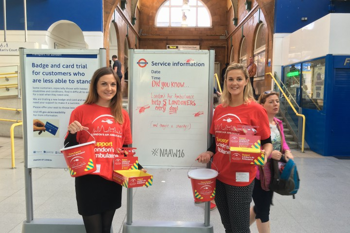 Bucket collecting at Earls Court